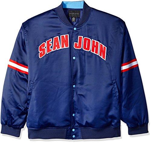 Sean John Herren Satin-Jacke Big and Tall - Blau - 6XL (Groß) Varsity Jacke Patches