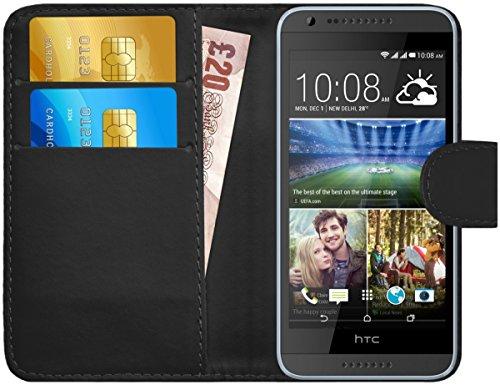 G-Shield Hülle für HTC Desire 620/620g Klapphülle mit Kartenfach - Schwarz