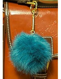 Llavero en forma de pompón de forro, 3 x 2, 8 cm, diseño elegante  azul marino Pompom diameter: 8cm, Chain length: 7cm
