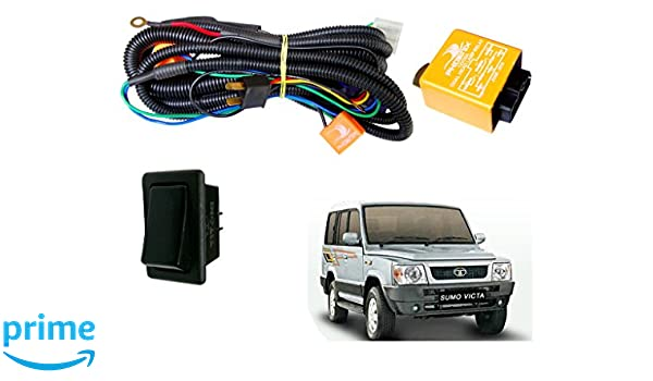 autopearl h4 headlamp wiring harness kit for tata sumo victa (set of 2,  multicolour): amazon in: car & motorbike