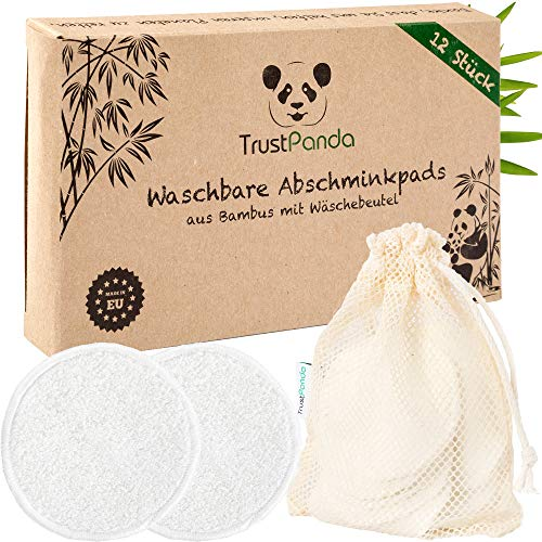 Abschminkpads waschbar aus 100{552de9d5b34f6132d785e869974a53ad699d479f6448766da93546d9f12f6b5f} Bambus | 12 x Wattepads Wiederverwendbar mit Baumwolle Wäschenetz | Wiederverwendbare Reusable Cotton Pads für Gesichtsreinigung | TrustPanda® | Made in EU |
