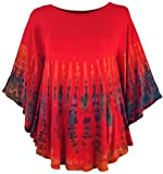 Guru-Shop Batik Poncho, Tunika, Boho Kaftan, Maxibluse, Damen, Himbeerrot, Viskose, Size:One Size, Blusen & Tunikas Alternative Bekleidung