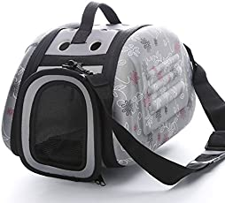 Urbancart Printed Travel/Outdoor pet Carrier for Cats, Puppies Sling Bag (Small) (Grey) (35L*23B*20H cm)