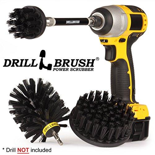 Drillbrush Küchenreinigungsbürsten für Drill Kit Mit Long Reach Befestigung. Drei Stück Medium Power Scrub Pinsel-Set ultra-stiff-schwarz