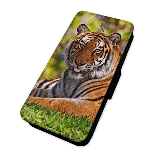Striking Tiger Laying in erba–Flip cover in pelle copertura di carta Apple Iphone 7 Plus