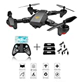 XS809W Foldable RC Quadcopter avec Altitude Hold FPV VR Wifi Grand angle 720P 2MP HD Camera 2.4GHz 6-Axis Gyro Télécommande XS809HW Drone + 3Pcs Batterie + 3Pcs Câble de chargement USB