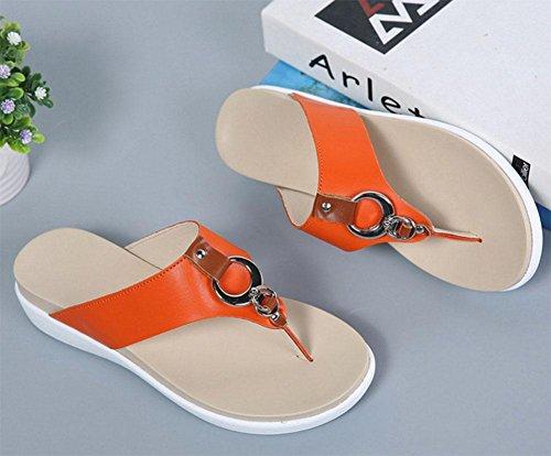 Mit schweren Boden Pantoffel Frauen-Sandalen Schuhe Wild Orange