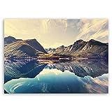 ge Bildet® hochwertiges Leinwandbild Naturbilder Landschaftsbilder - Norwegische Berglandschaft - Norwegen Bild Natur Berg See - 70 x 50 cm einteilig | Wanddeko Wandbild Wandbilder Wohnzimmer deko Bild | 2213 L
