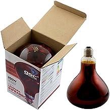 Lámpara Bombilla Infrarrojos 250W E27 - Luz Roja - Emite Calor - Invernaderos Incubadoras Preservar