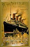 Blechschild Nostalgieschild Norddeutscher Lloyd Bremen Amerika Ost Asien Australien