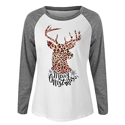 Sonnena Weihnachts Rundhals Elch Druck Pullover T-Shirt Tops Lange Hülse Tunic Oberteile Damen, Mode Frauen Xmas Langarmshirt Sweatshirt Herbst Winter Party Bluse Kostüm