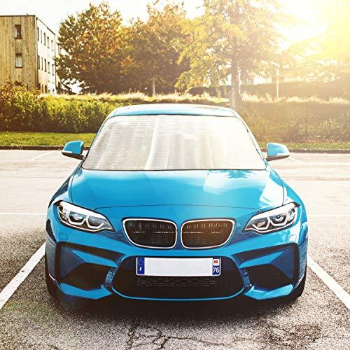 Navaris Auto Frontscheibenabdeckung Sonnenschutz Abdeckung - für alle PKW Modelle nutzbar - 150x70cm - auch als Frostschutz - Sommer Abdeckfolie