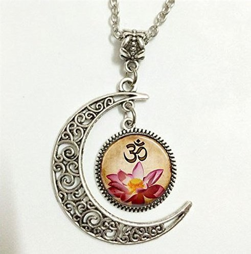 Pink Lotus Blossom (Yoga Anhänger, Om Halskette, Pink Lotus Blossom Flower Art Moon Schmuck, Moon Halskette Glas Art Bild)