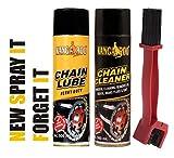 Kangaroo Chain Lubricant Spray & Chain Cleaner Spray(500 ML Each) + Brush