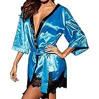 Dwevkeful Albornoz Mujer Satén Camisón Sexy Pijama una Plaza Vestido Kimono Ropa de Dormir Bata Lencerías