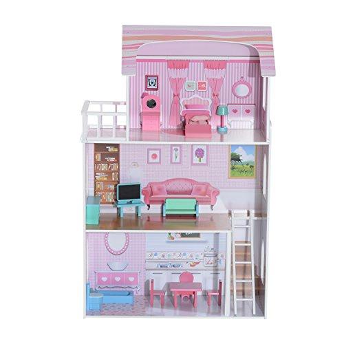 Homcom® Puppenhaus Puppenstube Barbiehaus Dollhouse 4 Etagen Holz mit Möbeln (Modell2)