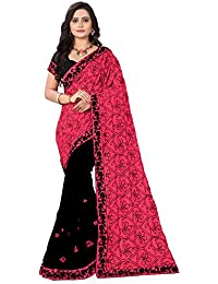 Riva Enterprise Women's Georgette Embroidred Half And Half Pallu Black And Pink Women (RIVA132_)