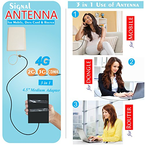 Universal 2G, 3G, 4G, CDMA Mobile Data card Antenna Complete kit For all network operators like (Tata, Airtel, MTNL, BSNL, Videocon, Cellone, Virgin, Videocon, BPL, MTS, Reliance, idea, Vodafone, Uninor & Escotel)