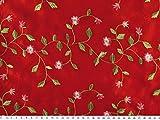 ab 1m: Taft bestickt, Blumen, rot, ca. 135cm breit