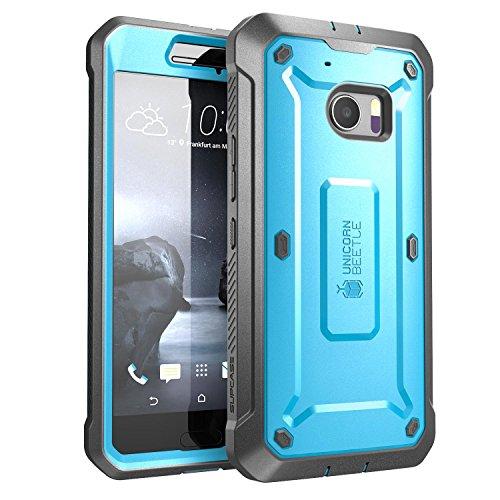 HTC 10 (2016) Hülle, SUPCASE Unicorn Beetle PRO Series Schutzhülle mit eingebautem Displayschutz und schlagfesten Stoßstangen + Case mit Gürtel-Clip Holster (Blau)