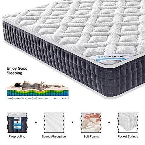 HomyLink Matratze 90x200cm Orthopädische Taschenfederkernmatratze mit Memory Foam 7 Zonen H3   23.5cm hoch   Atmungsaktiver Strick