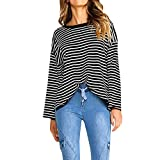 DIANDGE Pullover Damen Tumblr Frauen Herbst Langarm O Neck Gestreiftes Sweatshirt Pullover Tops Bluse
