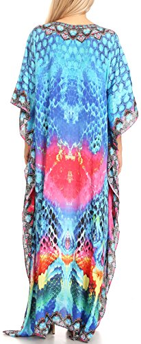 Sakkas Anahi Flowy Design V collo lungo vestito caftan / copertura in su con strass 17179-Turco / Rosa