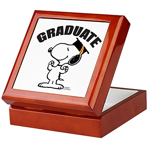 CafePress-Snoopy Graduate-Keepsake Box, fertig Hartholz Jewelry Box, Samt Gefüttert Memento Box mahagoni -