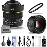 Deluxe Yongnuo 50mm f/1.8 Prime Lens and Opteka 6.5mm f/3.5 Wide Angle Fisheye with Digital DSLR Camera Photography Cleaning Kit Including Card Reader Dust Brush and Tripod