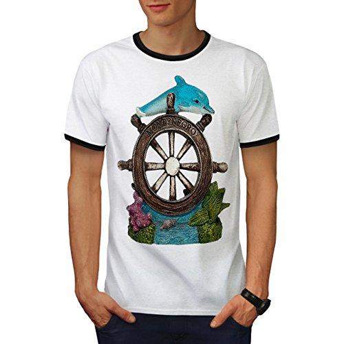 Ozean Helm Niedlich Tier Montenegro Herren M Ringer T-shirt | - Hound Helm