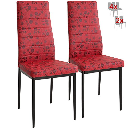 Albatros 3085 Paris 2 x Designer-Stühle rot Polsterstühle Esszimmerstühle Stuhl Set Leder - Designer Leder Stühle
