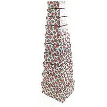 Decorativo floral rectángulo cartón duro Craft almacenamiento Brithday de Navidad caja de regalo [Azul], Box 1