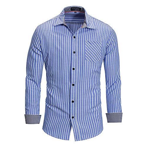 Mens Fashion lose Streifen beiläufige Cuffed Sleeve Shirts (Farbe : Farbe2, Größe : M) -