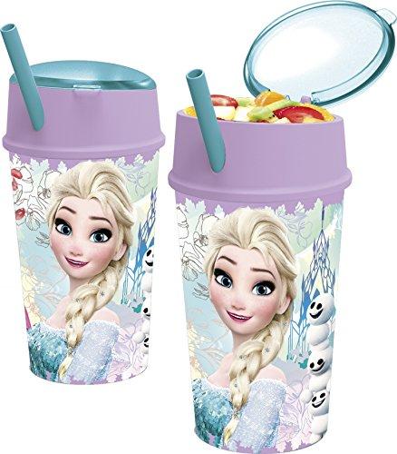 Frozen - Vaso plastico con tapa, pajita y compartimento snack 400 ml (