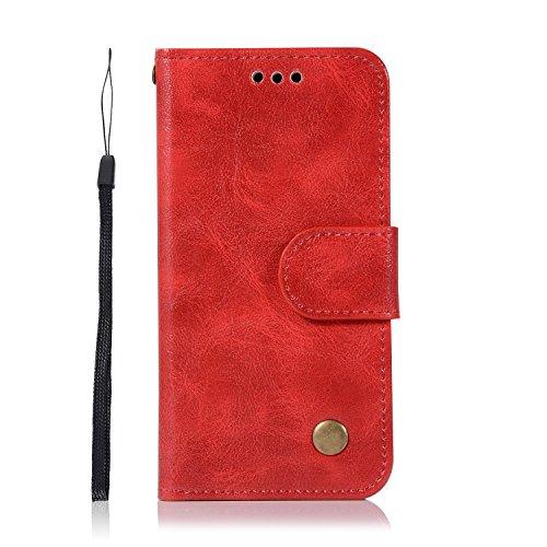 Chreey iPod Touch 5/Touch 6 Hülle, Premium Handyhülle Tasche Leder Flip Case Brieftasche Etui Schutzhülle Ledertasche, Rot (Mädchen Ipod-taschen 4. Generation)