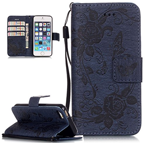 Roreikes Apple iphone SE 5 5S Hülle, iphone SE 5 5S Case , Muster PU Leder Handyhülle Flip Wallet Cover Blume Schmetterling Pattern Hülle Bookstyle Tasche mit Strap Portable Carrying Schutz Cases Etui Lederhülle Handytasche mit Magnetic Closure Stand ID Card Slots Pouch Soft Silikon für Apple iphone SE 5 5S (Marineblau)
