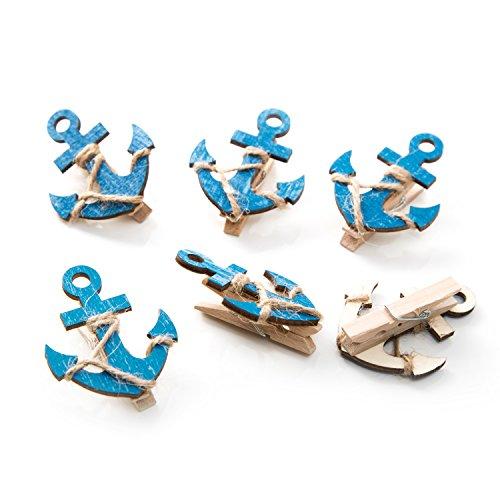6pezzi blu in legno di ancoraggio-Mollette decorative con 5,5x 4,5cm; piuttosto mollette per chiudere sacchetti, foto titolare etc. - Libro Blu Tovagliolo