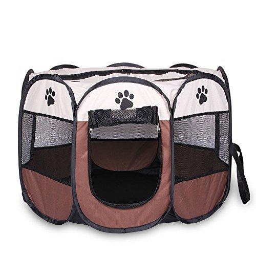 Aussie-hunde Reißverschluss (Welpenlaufstall/ Tierlaufstall/ Hundehütte/ Welpenauslauf/ Laufstall für Hunde/ Katzenhaus/ Wasserdichtes Zelt für Kleintiere wie Hunde, Katzen Größe M/L (91*91*58CM, Kaffee))