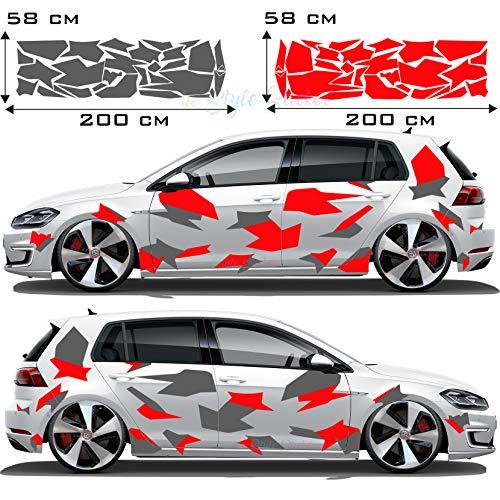Tarn Auto Camouflage Aufkleber Seitenaufkleber Cyber Style✔️ Style Verkleidung CAMO Flecktarn Kuh Haut Tuningaufkleber