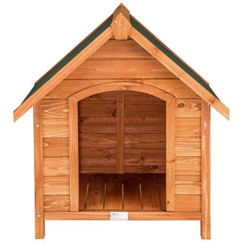 TecTake Hundehütte XXL Massiv Holz für Indoor und Outdoor 72x65x83 cm Hundehaus wetterfest mit aufklappbarem Spitzdach - 4