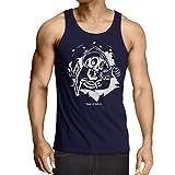 lepni.me Camisetas de Tirantes para Hombre el cráneo con Bomba - el Tiempo está Arriba - el Tiempo es Oro (Medium Azul