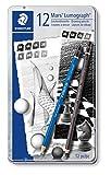 Staedtler Mars Lumograph, Crayons à dessin de haute qualité pour artistes, Boîte en métal avec 8 crayons graphites 8B-2H et 4 crayons graphites enrichis en carbone 8B/6B/4B/2B, 100 G12 S1