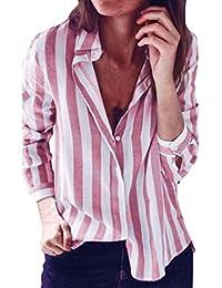 SunGren Blusa de Las Mujeres de la Moda, Camiseta Superior Casual a Rayas Lona de