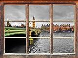 Skyline von London mit Themse und Big Ben schwarz/weiß, Fenster 3D-Wandsticker Format: 92x62cm Wanddekoration 3D-Wandaufkleber Wandtattoo