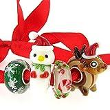 Set di ciondoli in vetro per braccialetti stile europeo, con nucleo in argento Sterling, a tema natalizio con renna, pupazzo di neve e fiocco di neve