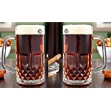 King International Glass Italian Style Jumbo Beer Mug | Set Of 2 Pieces | 600 Ml