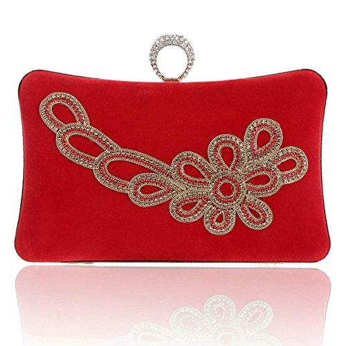 Damara Pochette de Soirée Femme Velours Exquis Antique Strass Mode Chinoise rouge