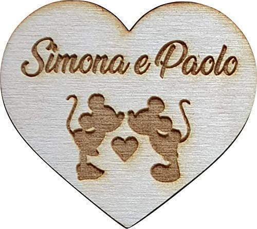 5 PEZZI calamita personalizzata in legno sagoma cuore tema Disney per segnaposto matrimonio o decorazione sacchetti