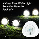 [Pack of 4]Indoor LED Motion Sensor Night Light Battery Powered Stick Anywherewith 3m Adhesive Pads, Safe Lights Great for Stairs, Bedroom, Kitchen, Closet, Batteries Not included