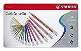 Crayon de couleur - STABILO CarbOthello - Boîte métal de 48 crayons fusains pastels - Coloris assortis
